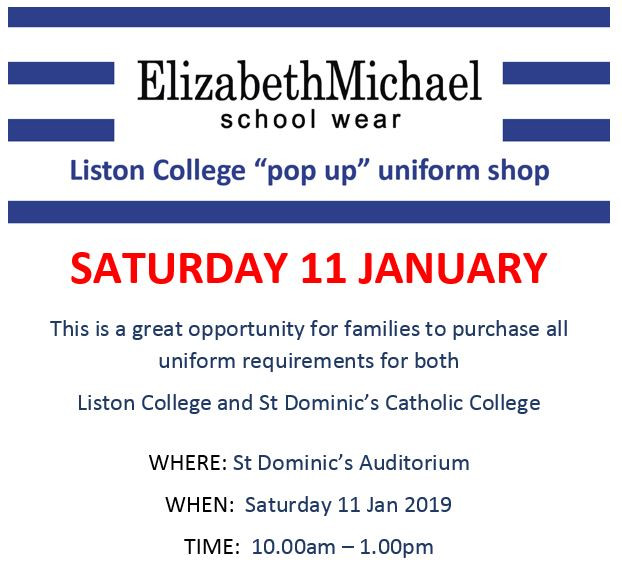 School Uniform Pop-Up Shop 2020
